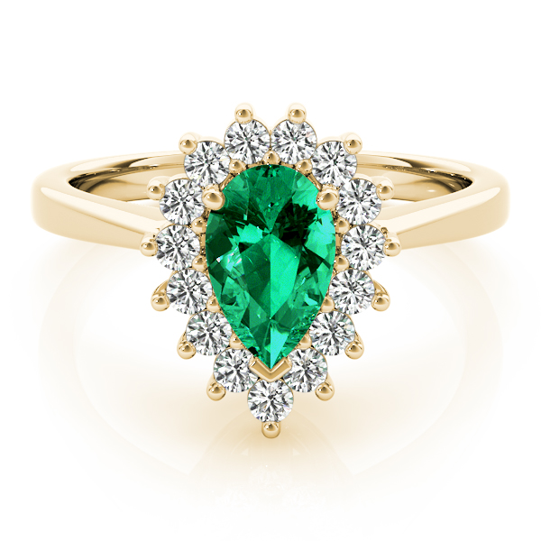 Pear Green Emerald Halo Diamond Ring Yellow Gold