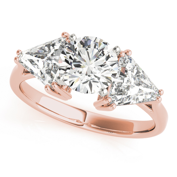 Three Stone Classic Round - Trillion Engagement Ring for Large Diamonds in Rose Gold