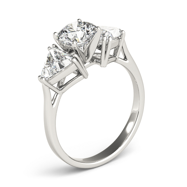 Three Stone Classic Round - Trillion Engagement Ring for Large Diamonds