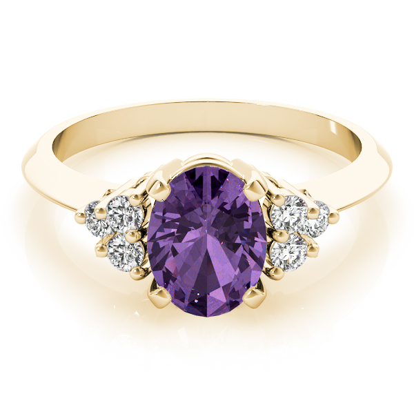 Oval Purple Amethyst Cluster Diamond Ring Yellow Gold