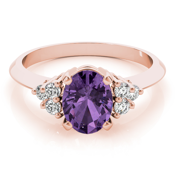 Oval Purple Amethyst Cluster Diamond Ring Rose Gold