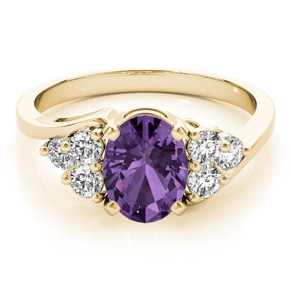 Oval Purple Amethyst Swirl Diamond Ring Yellow Gold