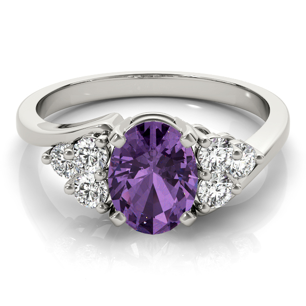 Oval Purple Amethyst Swirl Cluster Diamond Ring