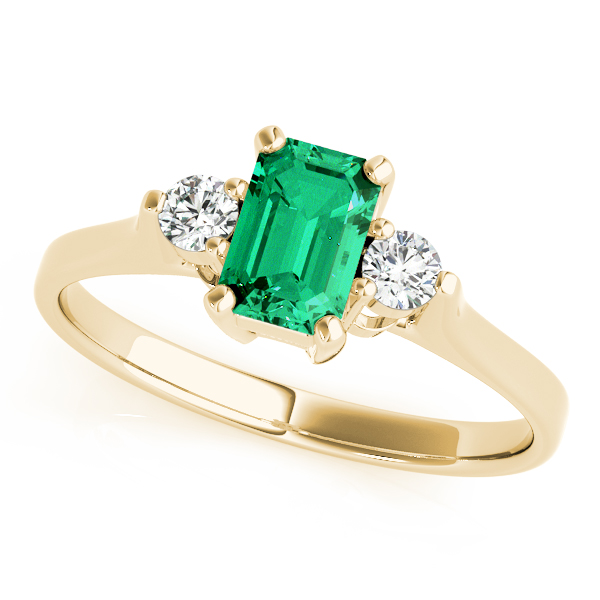 Green Emerald Diamond 3 Stone Ring Yellow Gold