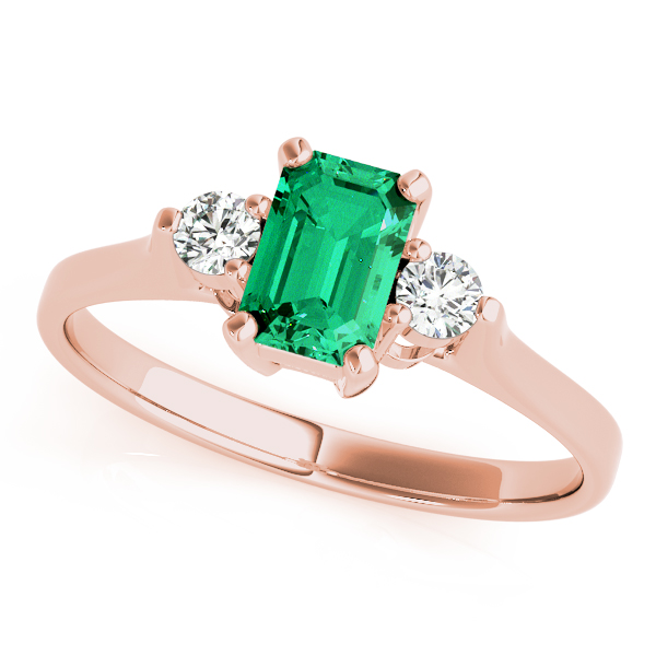 Green Emerald Diamond 3 Stone Ring Rose Gold