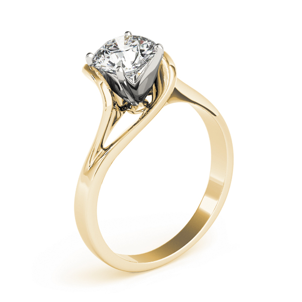 Swirl Split Band Engagement Ring in Yellow Gold