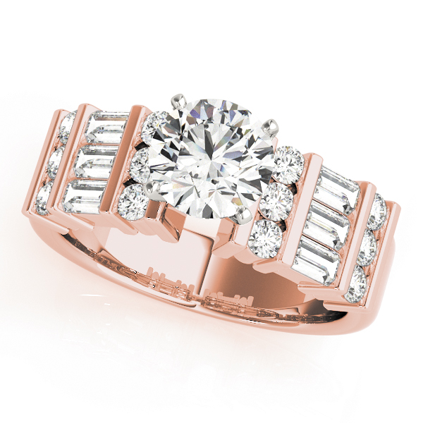 Triple Row Round - Baguette Cut Diamond Engagement Ring in Rose Gold
