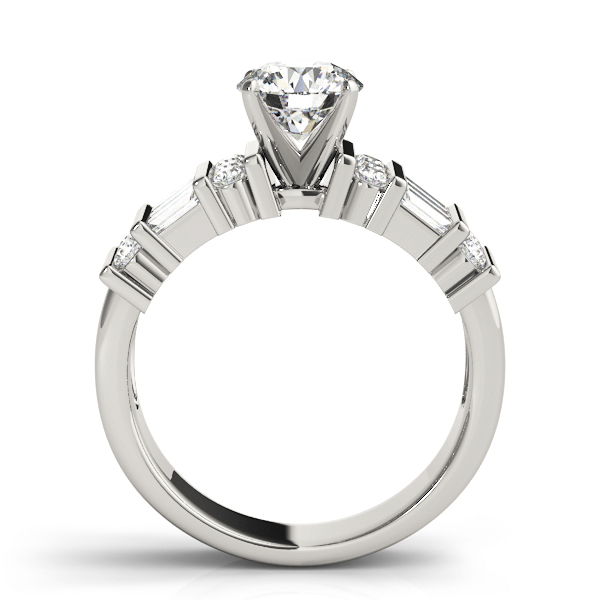 Triple Row Round - Baguette Cut Diamond Engagement Ring