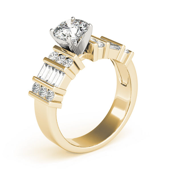 Triple Row Round - Baguette Cut Diamond Engagement Ring in Yellow Gold