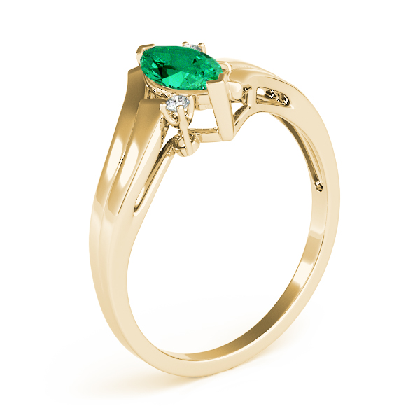 Marquise Green Emerald Gold Swirl Ring