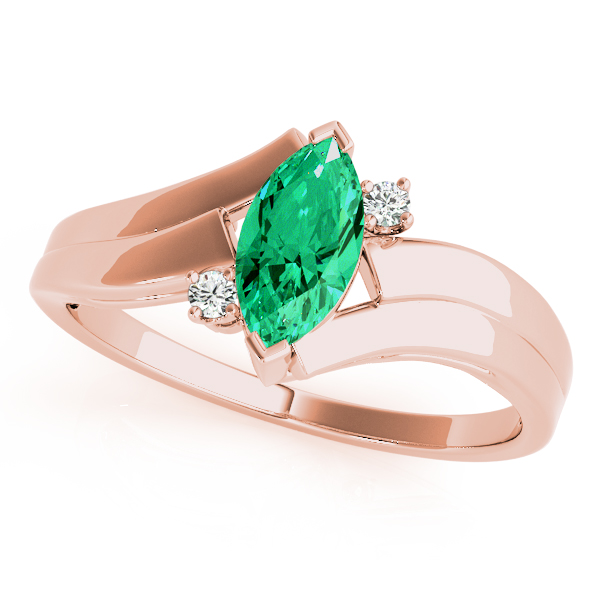 Marquise Green Emerald Rose Gold Swirl Ring