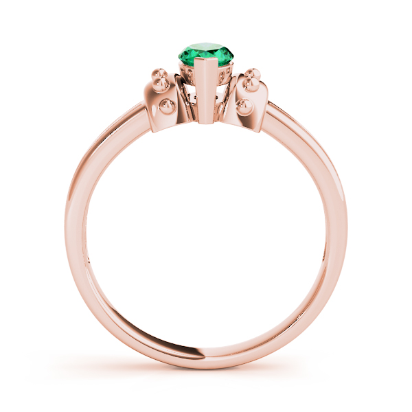 Marquise Green Emerald Spiked Rose Gold Ring