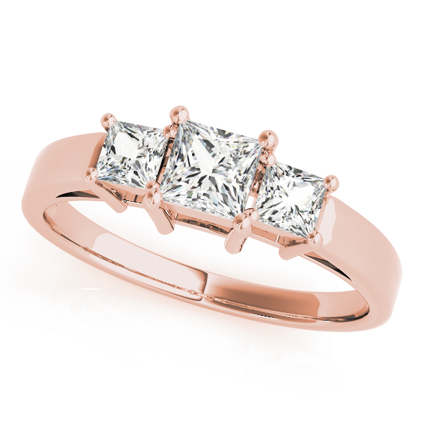 Classic Three Stone Princess Cut Diamond Engagement or Anniversary Ring in Rose Gold