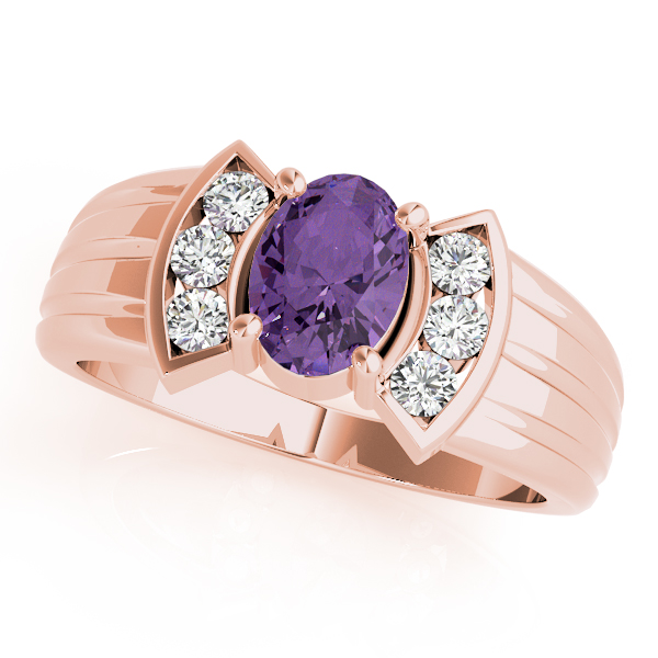 Oval Purple Amethyst Bowtie Fan Ring Rose Gold