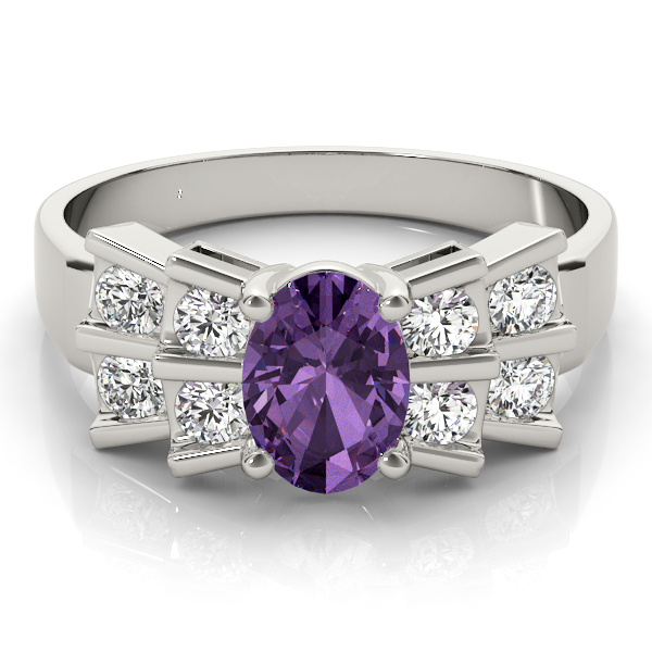 Oval Purple Amethyst Bowtie Fan Ring