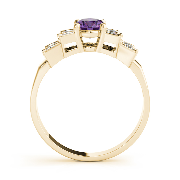 Oval Purple Amethyst Bowtie Fan Ring Yellow Gold