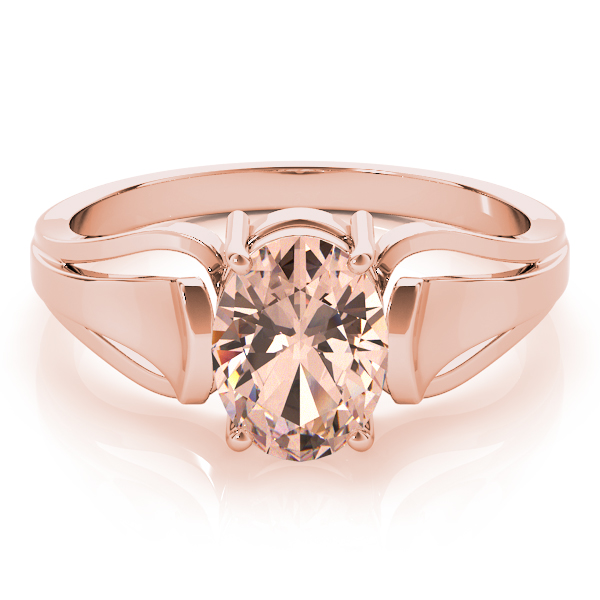 Solitaire Oval Peach Morganite Ring Rose Gold