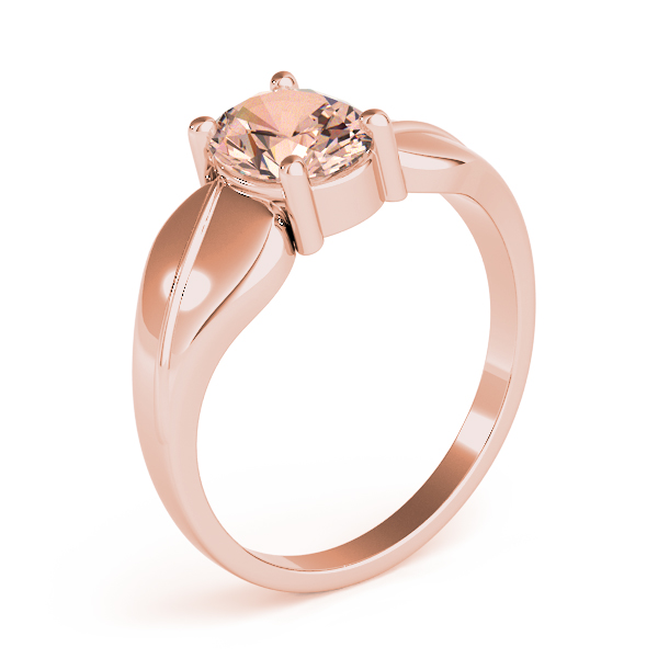 Solitaire Oval Peach Morganite Swirl Ring Rose Gold