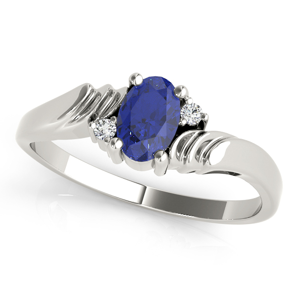 Oval Blue Sapphire Swirl Ring