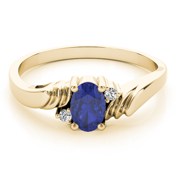 Oval Blue Sapphire Swirl Ring Yellow Gold