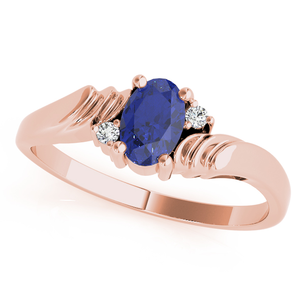 Oval Blue Sapphire Swirl Ring Rose Gold