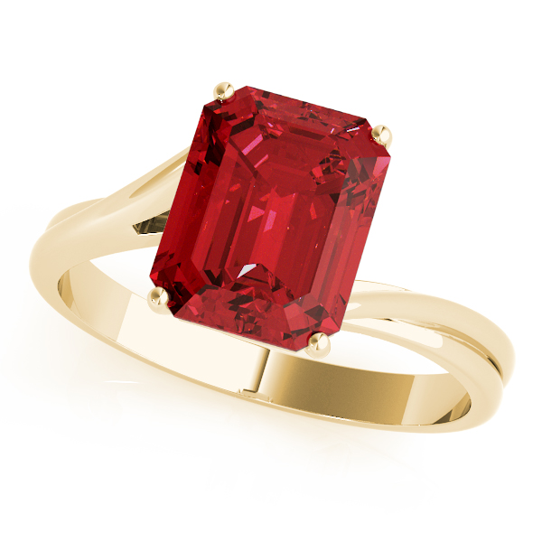 Solitaire Emerald Cut Ruby Ring Yellow Gold