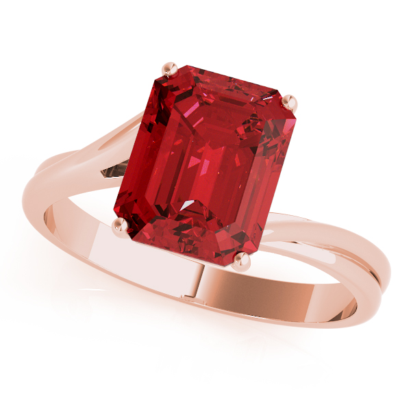 Solitaire Emerald Cut Ruby Ring Rose Gold