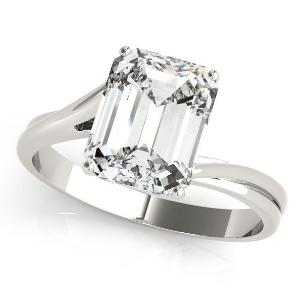 Emerald Cut Swirl Solitaire Ring