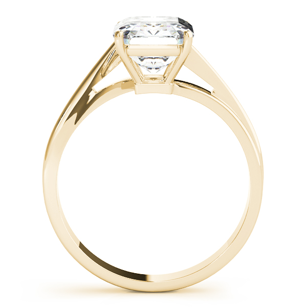 Emerald Cut Swirl Solitaire Ring Yellow Gold