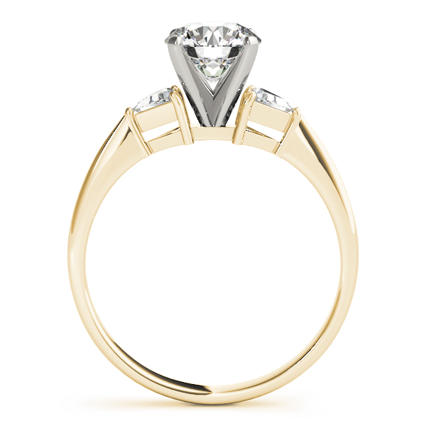 Three Stone Classic Trillion Engagement Ring - 4x4mm in Yellow Gold