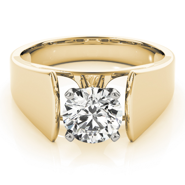 Tapered Solitaire Engagement Ring in Yellow Gold