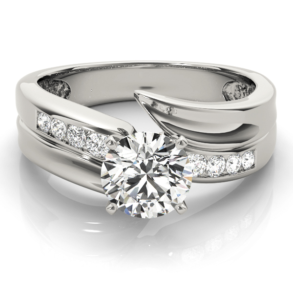 Swirl Channel Set Diamond Engagement Ring
