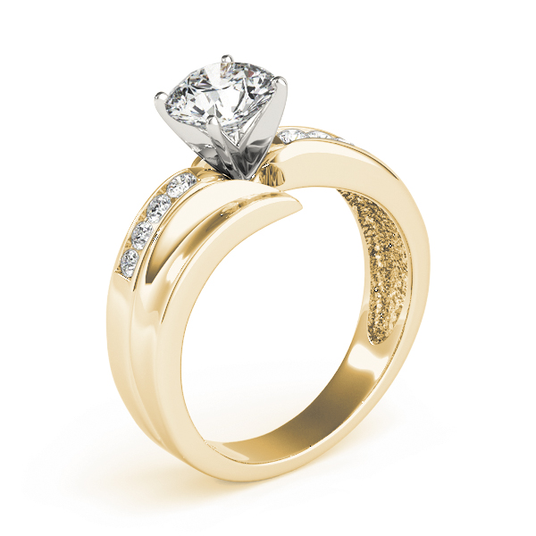 Swirl Channel Set Diamond Engagement Ring in Yellow Gold