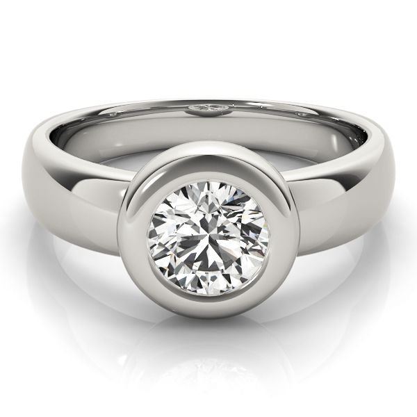 Classic Bezel Dome Solitaire Engagement Ring in Platinum