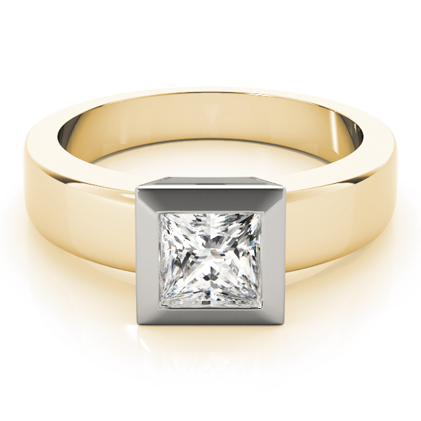 Classic Solitaire Bezel Princess Engagement Ring in Two-Tone