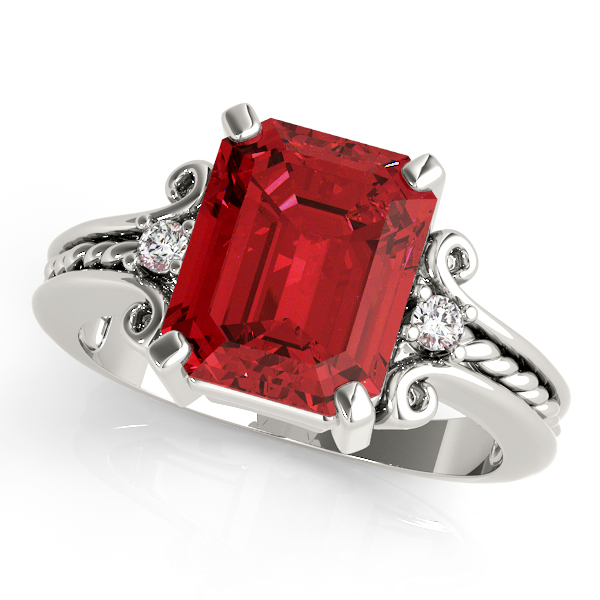 3 Stone Emerald Ruby Rope Ring