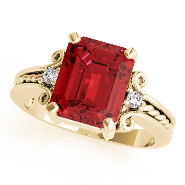 3 Stone Emerald Ruby Rope Ring Yellow Gold