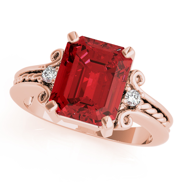 3 Stone Emerald Ruby Rope Ring Rose Gold