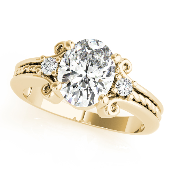 Oval Diamond Rope Filigree Ring Yellow Gold