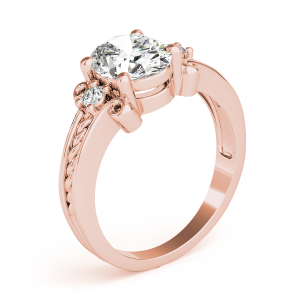 Oval Diamond Rope Filigree Ring Rose Gold