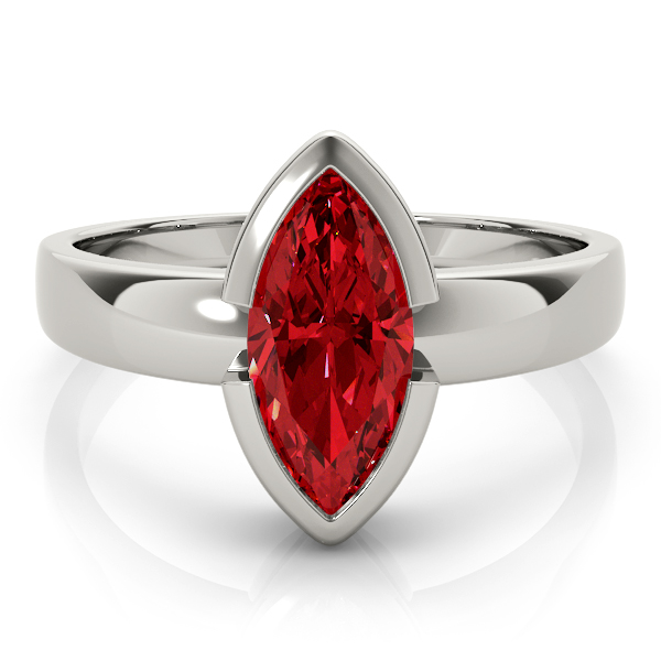 Bezel Marquise Red Garnet Ring