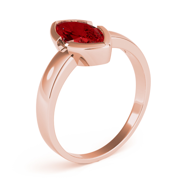 Bezel Marquise Red Garnet Ring Rose Gold
