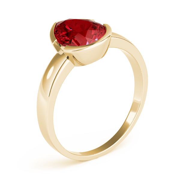 Bezel Pear Red Garnet Ring Yellow Gold