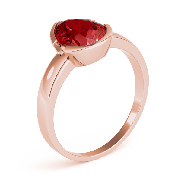 Bezel Pear Red Garnet Ring Rose Gold
