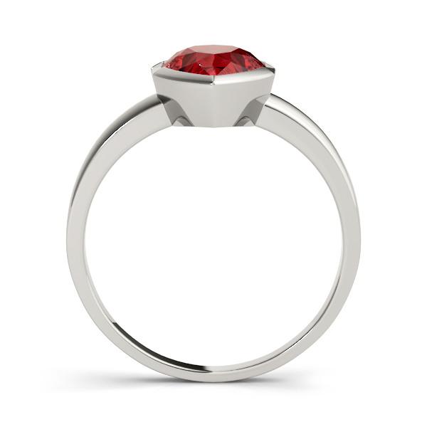 Bezel Pear Red Garnet Ring