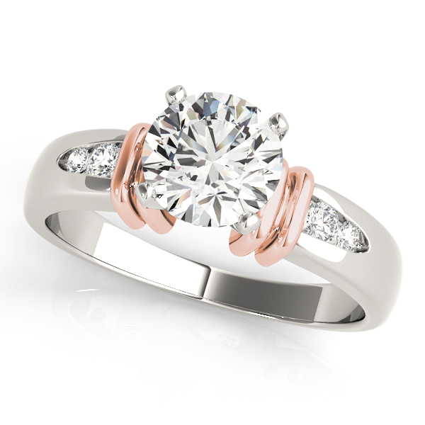Petite Diamond Engagement Ring with Cuffs in Two-Tone