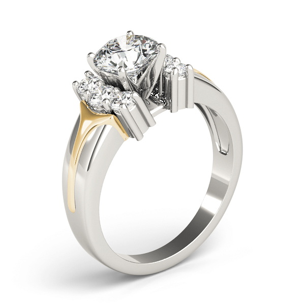 Diamond Huggie Diamond Engagement Ring in Two Tone