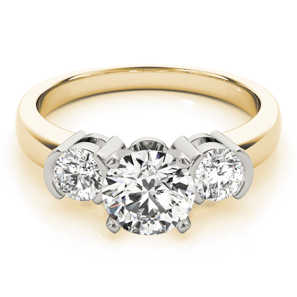 Three Stone Semi-Bezel Petite Diamond Engagement Anniversary Ring in Yellow-Gold