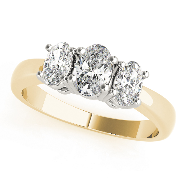 Three Stone Oval Diamond Engagement Ring in Yellow Gold