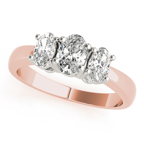 Three Stone Oval Diamond Engagement Ring in Rose Gold
